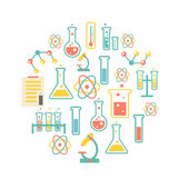 Chemistry icons background. For  biology and medical research posters Stock Photos