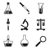 Chemistry icons. Black icons laboratory equipment: test tube, flask, burner, pipette, tube rack, microscope, magnifying glass. Design elements for web, mobile Stock Photo