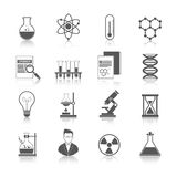 Chemistry Icons Black. Set with molecule structure microscope radiation warning sign isolated vector illustration Stock Photo