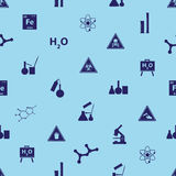 Chemistry icons blue pattern Stock Images