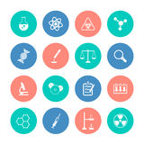 Chemistry icons on color circles Royalty Free Stock Photography