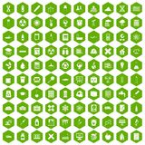 100 chemistry icons hexagon green Stock Images