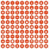 100 chemistry icons hexagon orange Stock Photos