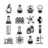 Chemistry icons set black. Chemistry scientific research icons collection with molecule atom structure symbol and test tubes black abstract vector illustration Stock Photography
