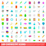 100 chemistry icons set, cartoon style. 100 chemistry icons set in cartoon style for any design vector illustration Stock Photos