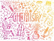 Chemistry of icons set. Chalkboard with elements, formulas, atom, test-tube and laboratory equipment. laboratory. Workspace and reactions research. science Royalty Free Stock Photo