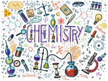 Chemistry of icons set. Chalkboard with elements, formulas, atom, test-tube and laboratory equipment. laboratory vector illustration