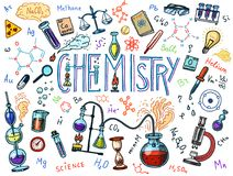 Chemistry of icons set. Chalkboard with elements, formulas, atom, test-tube and laboratory equipment. laboratory. Workspace and reactions research. science Royalty Free Stock Photos