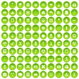 100 chemistry icons set green circle. Isolated on white background vector illustration Royalty Free Stock Images