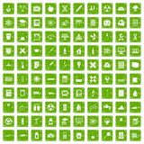 100 chemistry icons set grunge green Royalty Free Stock Photography