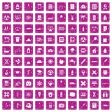 100 chemistry icons set grunge pink. 100 chemistry icons set in grunge style pink color isolated on white background vector illustration vector illustration