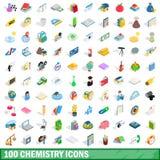 100 chemistry icons set, isometric 3d style. 100 chemistry icons set in isometric 3d style for any design illustration stock illustration