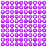 100 chemistry icons set purple. 100 chemistry icons set in purple circle isolated on white vector illustration stock illustration