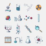 Chemistry icons set Stock Photos