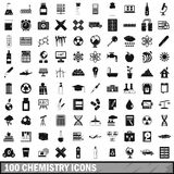 100 chemistry icons set, simple style. 100 chemistry icons set in simple style for any design vector illustration Stock Photography