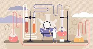 Chemistry vector illustration. Flat mini science research persons concept. Chemistry industry vector illustration. Flat mini science research persons concept stock illustration