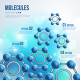 Chemistry Infographic with Blue Molecules design. Royalty Free Stock Image