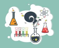 Chemistry infographic laboratory. Old science and chemistry infographic laboratory Stock Photos