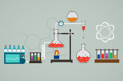 Chemistry infographic, template of Medical Research stock illustration