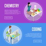 Chemistry and informatics studying at school. Isometric 3D posters. Young people sitting at table in classroom and doing homework. Individual education concept Royalty Free Stock Photography