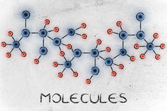 Chemistry inspired illustration with text Molecules. Molecule inspired illustration with glowing centres (atoms) and connections Stock Photos