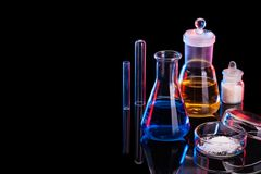The Chemistry Lab background. Various glass chemistry lab equipment Stock Images