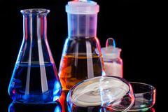 The Chemistry Lab background. Various glass chemistry lab equipment Stock Photos