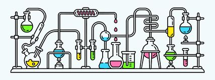 Chemistry lab banner, outline style stock illustration