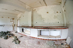 Chemistry lab dissolved. Dissolved, abandoned by earthquake disasters chemistry laboratory and mold on the walls Stock Photography