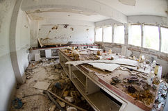 Chemistry lab dissolved. Dissolved, abandoned by earthquake disasters chemistry laboratory and mold on the walls Stock Photo