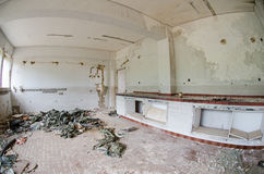 Chemistry lab dissolved. Dissolved, abandoned by earthquake disasters chemistry laboratory and mold on the walls Stock Photos