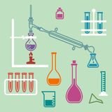 Chemistry lab equipment. Various glass chemistry lab equipment. Chemistry experiment Stock Images