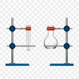 Chemistry Lab Flask And Tubes Grip Stand Holder. On Transparent Background. EPS10 Vector Stock Photo