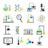 Chemistry Lab Flat Icon Set. Accessorise element and equipment for work in laboratory vector illustration Royalty Free Stock Photo