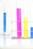 Chemistry lab glassware equipment. Science concept - chemistry lab glassware equipment (test tubes with colorful substances Stock Photography