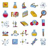 Chemistry lab icon set, hand drawn style vector illustration