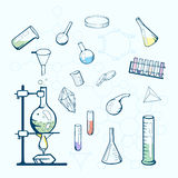 Chemistry lab icons. Sketched illustration. Royalty Free Stock Photography