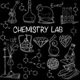 Chemistry lab sketch set Royalty Free Stock Photo