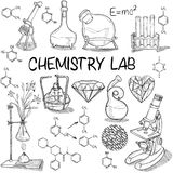 Chemistry lab sketch set. Hand drawn science vintage chemistry lab sketch set . Vector illustration. Back to School. Doodle lab equipment. Biology, chemistry Stock Images