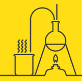 Chemistry with lab test and research equipment Stock Images
