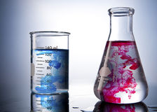 Chemistry Labolatory glasses with colours Stock Photo