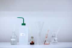 Chemistry laboratory common equipment with reagents Stock Photography