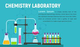Chemistry laboratory concept banner, flat style royalty free illustration