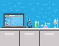 Chemistry. Laboratory equipment, chemical experiment. Jars, beakers, flasks, microscope, spirit lamp on table. Vector stock illustration