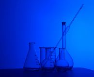 Chemistry laboratory equipment and glass tubes Royalty Free Stock Photography