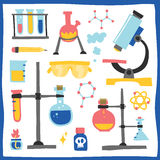 Chemistry laboratory equipment hand drawn vector objects Stock Photos