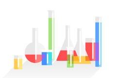 Chemistry laboratory flat vector background Stock Photos