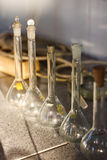 Chemistry laboratory glass containers test tubes Stock Images