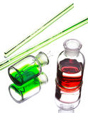 Chemistry laboratory glassware with colour liquids in them Royalty Free Stock Photography