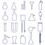 Chemistry laboratory glassware simple outline icons Royalty Free Stock Photography
